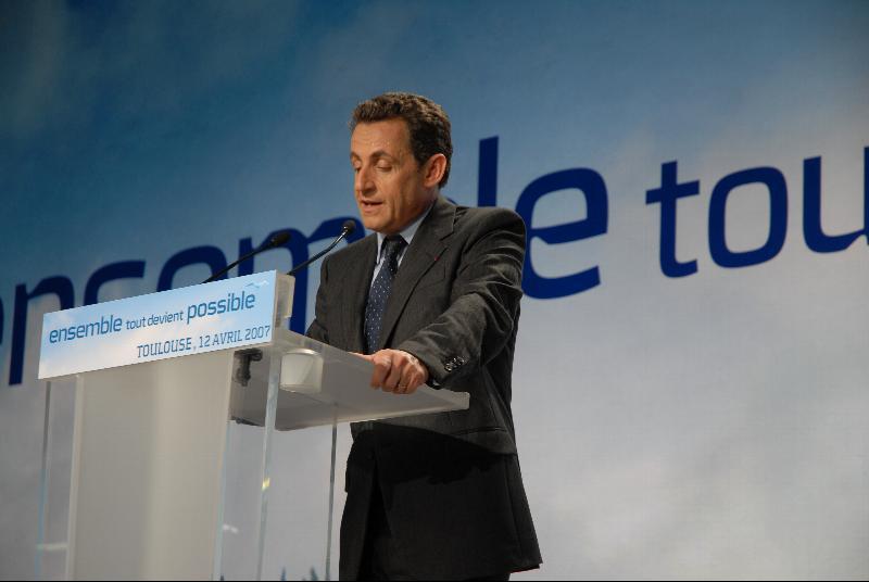 Nicolas Sarkozy en meeting à Toulouse lors de la campagne présidentielle de 2007. Photo Guillaume Paumier.