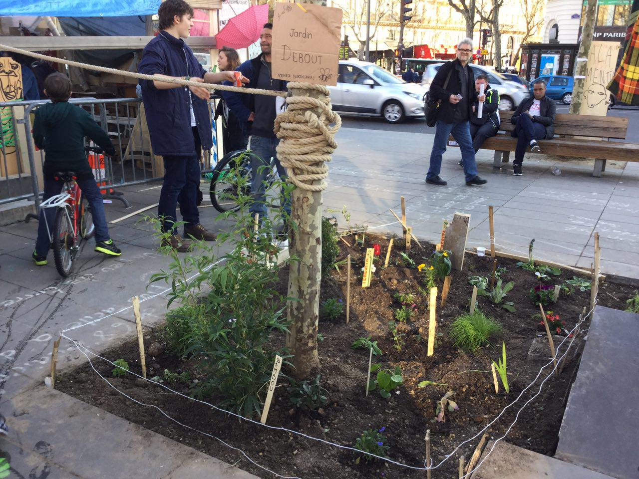 """Le """"jardin"""" des manifestants de """"Nuit debout"""""""